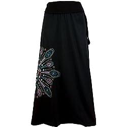 Guru-Shop, Maxi Falda, Falda Larga Mandala, Boho, Negro / Rosa, Algodón, Tamaño:L / XL (44), Faldas Largas