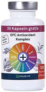 OPC Antioxidant Komplex I OPC angereichert mit 11 wichtigen Antioxidantien und Superfood Extrakten I Für Zellschutz, Anti-Aging, Immunsystem I Ohne Zusatzstoffe I 120 vegane Kapseln
