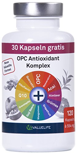 VALUELIFE Antioxidant Komplex I OPC angereichert mit 11 wichtigen Antioxidantien und Superfood Extrakten I Ohne Zusatzstoffe I 120 vegane Kapseln