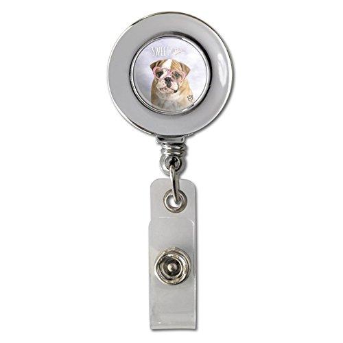 Ausweishalter/Ausweishalter mit Brille und britischer Bulldogge