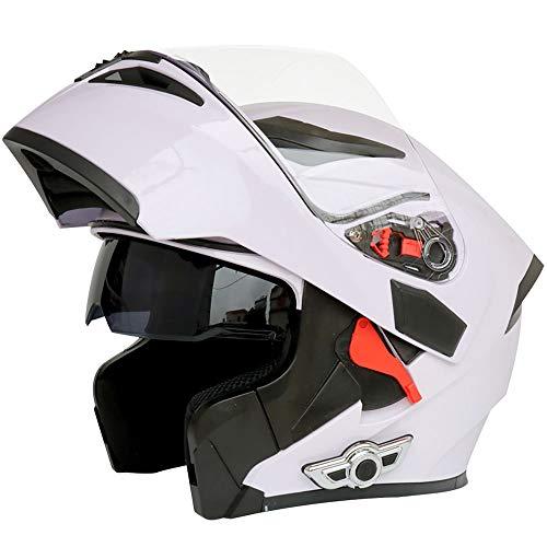\t Normallack-Voll- / Gesichtsoffener Motorradhelm Modular Double Sun Visor Klappbare Vordere Motorradhelm DOT-Zertifiziert Mit Bluetooth Weiß/Schwarz White-M=57-58cm Leopard-visor