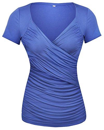 GAMISS Damen Causal T Shirts Sexy V Ausschnitt Blusen Rüschen Wickel Kurzarm Top-Blau-M