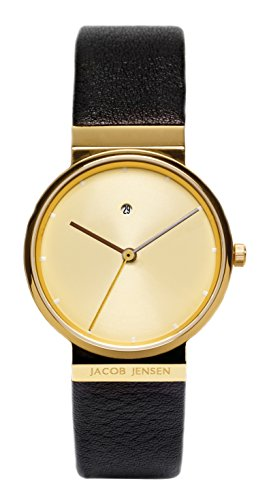 Jacob Jensen Unisex-Adult Quartz Watch, Analogue Classic Display and Leather Strap JJ855