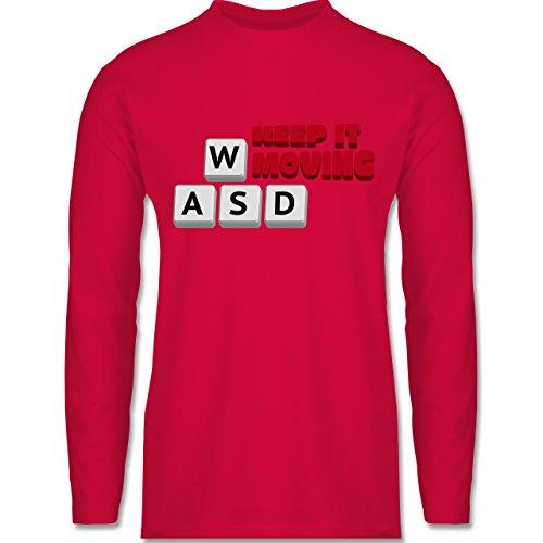 Shirtracer Nerds & Geeks - Tastatur WASD Keep It Moving - Herren Langarmshirt Rot