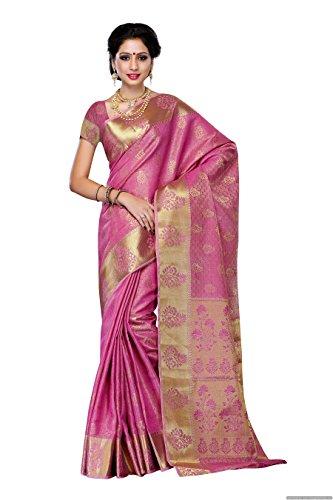 Mimosa Women's Tassar Silk Saree With Blouse Piece (178-Pink,Pink,Free Size)