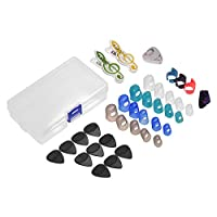 Decdeal Guitar Accessories Kit Includes 20pcs Silicone Guitar Finger Protectors + 10pcs Guitar Picks + 4pcs Thumb & Finger Picks + Pick Holder + 2pcs Music Page Clips with Plastic Storage Box