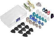 Decdeal Guitar Accessories Kit Includes 20pcs Silicone Guitar Finger Protectors + 10pcs Guitar Picks + 4pcs Th