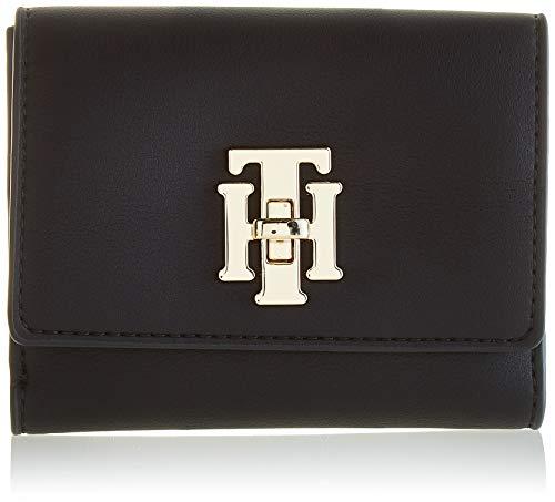 tommy hilfiger th lock med flap wallet, portafoglio donna, nero (black), 4x10x13 centimeters (w x h x l)