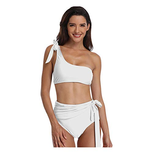 Meijunter Womens Off Shoulder Tankini Badeanzug Set - Kurze High Waist Schnür Bikini Gepolstert Strand Baden Bademode (2 Stück), Weiß, L (Party Kostüme City Womens)
