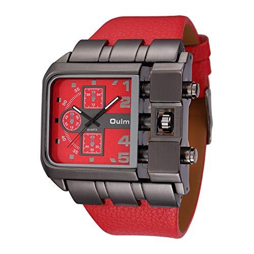 SW Watches Oulm Super große quadratische Zifferblattuhren Casual Armbanduhr Breites Lederarmband Top Marken Luxus Quarzuhr für den Mann 3364,Red