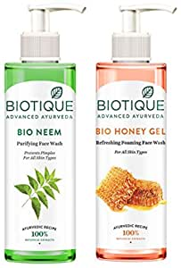 Biotique Bio Neem Purifying Face Wash, 200 ml And Biotique Bio Honey Gel Refreshing Foaming Face Wash, 200 ml