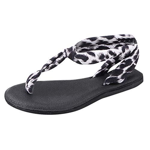 Mode Frauen Plus größe Sandalen, Leopardenmuster Flache flip Flops mit zapfen Post zehe Sommer Schuhe Yoga mat Strap Sandale für Frauen Damen - Flache Zehe Post