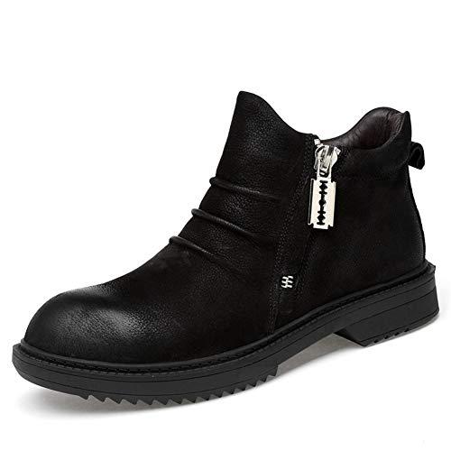 Herrenstiefel, Herbst-Winterstiefel aus Leder High-Top-Stiefel Martin-Stiefel Britische Retro-Stiefel für den Außenbereich Große Bequeme Laufschuhe XUE (Farbe : B, Größe : 43)