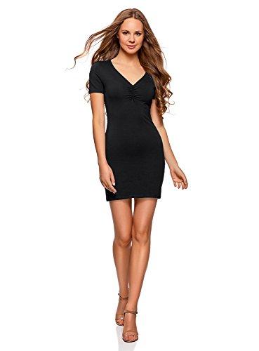 oodji Ultra Damen Enges Kleid mit V-Ausschnitt, Schwarz, DE 34 / EU 36 / XS (Mini-kleid Schwarzes)