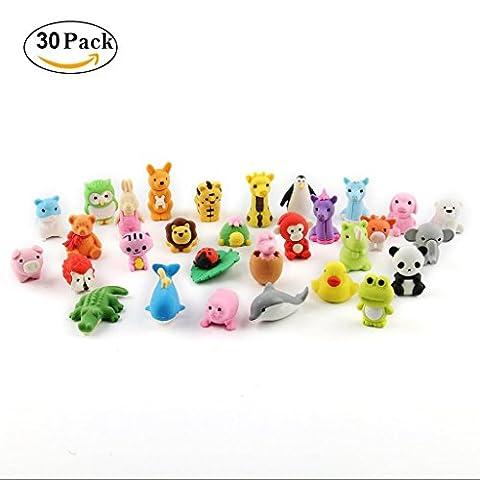 30 Pack Tier Radiergummi DIY Spielzeug Party Tasche Füller Bleistift Radiergummi für Vorschüler (Tan Perlen Set)