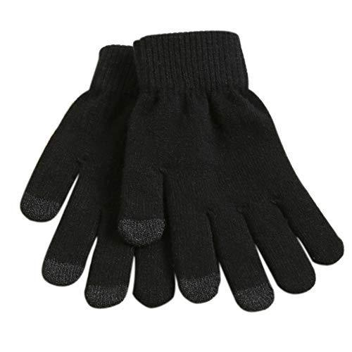 Hygnn Outdoor-Touchscreen-Sport-Handschuhe, Winter, kalt, Wetter, Winddicht, gestrickt, warme Thermo-Handschuhe für Texte, Laufen, Radfahren, Fahren, für Männer und Frauen, Damen, schwarz (Männer Fahren Handschuhe)