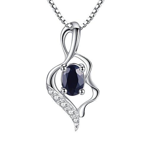 Gold Frauen Halskette Kreuz (100% echte blaue Saphir-925 Sterlingsilber 18K Gold Plating Halskette Gem Fine Jewellery 45cm für Frauen)