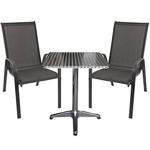 3tlg. Sitzgruppe Bistrotisch, Aluminium, 60x60cm + 2x Stapelstuhl, Textilenbespannung anthrazit,...