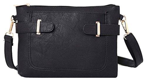 Kukubird Lisbeth In Ecopelle Con Tasca Frontale & Dettaglio Cinghia A Tracolla Sling Tracolla Messenger Handbag Black