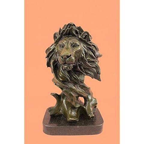 Escultura bronce estatua...Envío gratis...Firmado mármol original Busto Milo africano masculino del león(DW-130-EU)Estatuas estatuilla estatuillas desnuda Oficina y Decoración del hogar Coleccionables