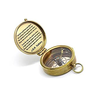 Solid Brass Compass J. R. R. Tolkien Quote With Leather Case.