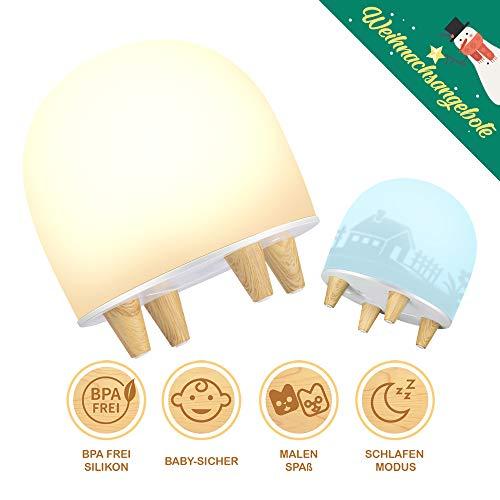 Nachtlicht Kind, Baby Nachtleuchte mit 3 DIY Folien, LED Nachtlampe BPA FREI Dimmbar, Silikon Wiederaufladbare Nachttischlampe Weihnachtsgeschenk Nachtlichter Kinderzimmer Schlummerleuchte