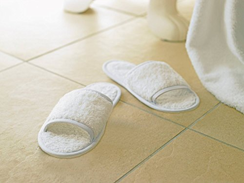 Towel City Classic Terry Open Toe Slippers - 100% cotton / UK Size 4-11 White