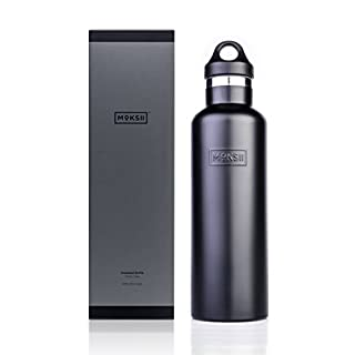 Moksii Vacuum Insulated 18/8 Stainless Steel Sports Water Bottle Premium Matte Finish 750ml/26oz