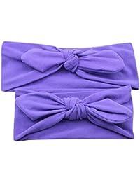 Diademas para bebé y madre, Sannysis 2PCS Joyas para el pelo Conejo arco Hairband (púrpura)