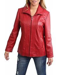 Mujer Clásico Cremallera Cuero Real Semi-Ajustado Chaqueta de Piel de Cordero Julia Rojo