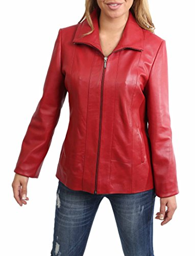 Damen Klassisch Zip Up Echtes Lederjacke Damen Semi Fitted Lammfell Mantel JULIA Rot (S (36)) (Semi Jacke Fitted)