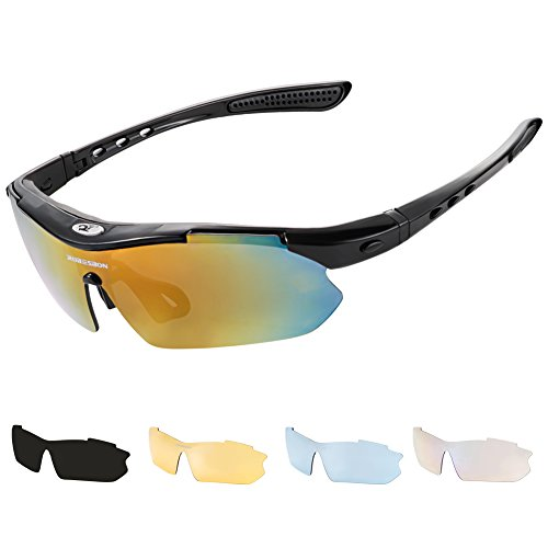 Sunglasses Driving, Robesbon 5 in 1 Polarised Sports Sunglasses for Driving Ski Golf Running Cycling Fishing perfect for Mens and Womens- Black