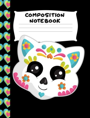 Composition Notebook: White Blue Sugar Skull Kitty | Wide Ruled Paper | Girls, Student Teacher, Gift | 120 Pages