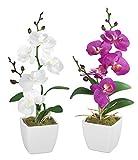 Kunstblume Orchidee, 2er Set in Weiß und Lila