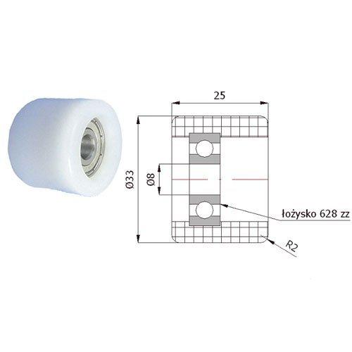 Zabi Führungsrolle - Nylon Kunststoff-Führungsrollen für Schiebetore Ø 33mm mit Lagerung (Kugellager)