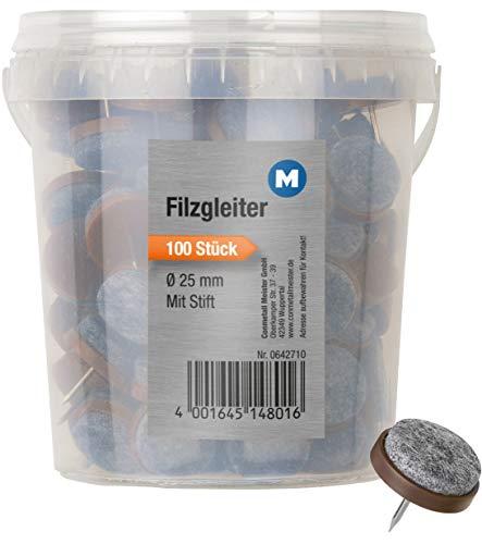 Metafranc Filz-Gleiter Ø 25 mm - Mit Nagel - braun - 100 Stück - Effektiver Schutz Ihrer Möbel & Stühle / Möbelgleiter-Set für empfindliche Böden / Stuhlgleiter / Bodengleiter / 642710 - Möbel Nagel