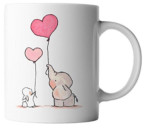 Zu Ballon Mama Sein (vanVerden Tasse Love Liebe Hase und Elefant mit Luftballon inkl. Geschenkkarte, Farbe:Weiß/Bunt)