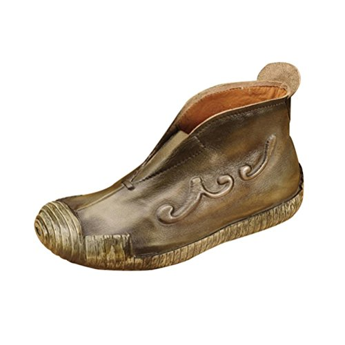 QPYC Scarpe da donna del primo strato di stivali singoli di cuoio Stivali bassi super soft morbidi del cuoio genuino Stivali femminili green