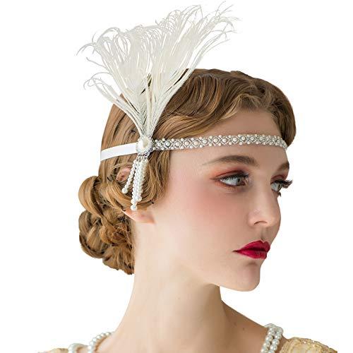 SWEETV 1920er Jahre Stirnband Flapper Kopfstück die große Gatsby inspiriert Kostüm Party Accessoreis Elfenbein brüllen 20er Jahre Zubehör für Damen