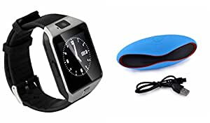 Smart Watch & Bluetooth Speaker for MOTOROLA moto maxx(Rugby Speaker,Bluetooth Speaker & Bluetooth DZ09 Smart Watch Wrist Watch Phone with Camera & SIM Card Support Hot Fashion New Arrival Best Selling Premium Quality Lowest Price with Apps like Facebook, Whatsapp, Twitter, Sports, Health, Pedometer, Sedentary Remind & Sleep Monitoring, Better Display, Loud Speaker, Microphone, Touch Screen, Multi-Language, Compatible with Android iOS Mobile Tablet-Silver Color)