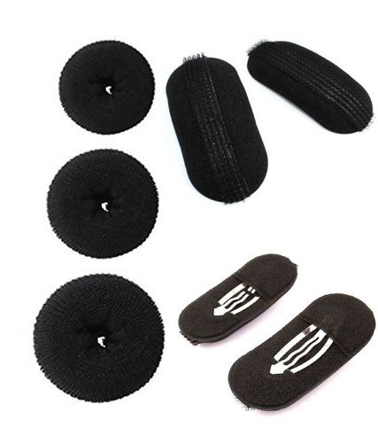 [Sponsored]Chanderkash Pack Of 3 Hair Donuts All 3 Different Sizes With 2 Pcs Black Sponge Hair Clips