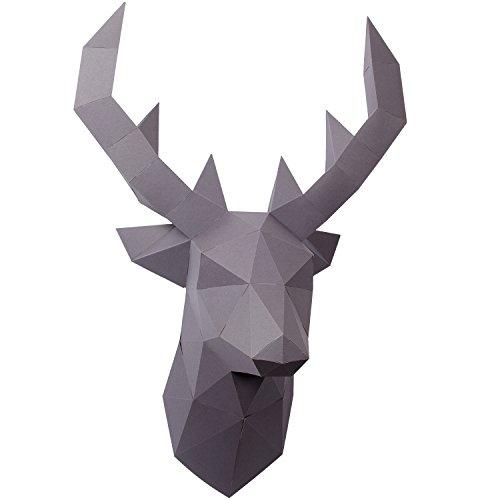 PaperShape Hirsch 3D Ohne kleben, Ausgeschnitten und vorgefalzt. Wandtrophäe als Deko aus FSC-Papier in 3 Farben Hirsch-Kopf Maße 55 x 41 x 29cm. Made in Germany (Urban Grey)