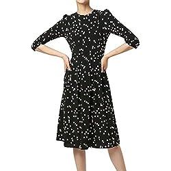 beautyjourney Vestido de Fiesta con Estampado de Lunares y Manga 3/4 para Mujer Vestido Elegante con Cuello Redondo y Elegante túnica Vestido de Noche Vestido de cóctel Vestidos de oscilación