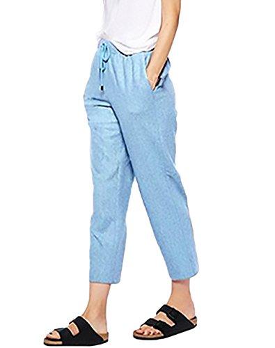 bf9de4e8d5d130 Pantaloni Donna Eleganti Moda Puro Colore Casual Taglie Forti Baggy Comode  con Elastico in Vita Pantalone Lino Abbigliamento Ragazza