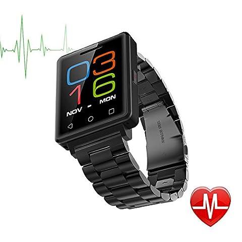 TechCommYang Bluetooth Fitness Tracker IOS, Stahlband Fitness Uhr Unterstützung Herzfrequenz Schrittzähler MP3-Player Unterstützung SMI-Karte, Mit Erweiterter Speicherkarte 128G - Schwarz