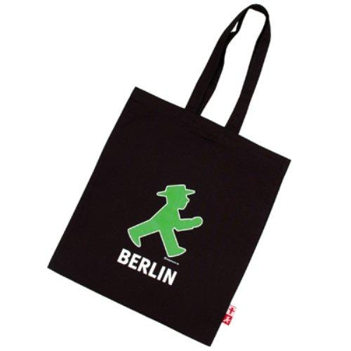 Preisvergleich Produktbild Ampelmann 108106255 - Stoffbeutel - Schwarzhändler mit Geher Berlin/ Steher Berlin, schwarz