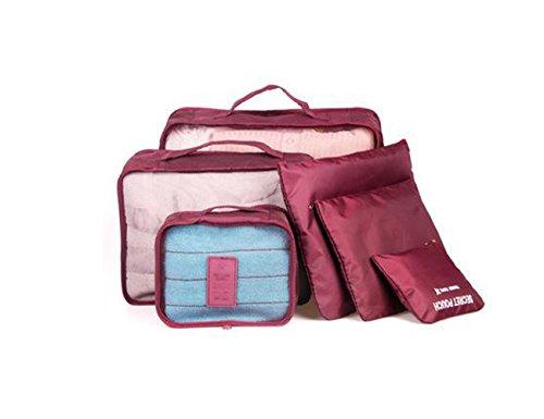 TutuShop 6er-Sets Organizer Tasche | Nylon Reisegepäck Aufbewahrungstasche | Wasserdicht Kleidertasche Koffertaschen für Reise - Marineblau Rotwein