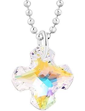 fish Mädchen Jungs Hals-Silberkette Sterlingsilber original Swarovski Elements Kreuz-Anhänger crystal längen-verstellbar...