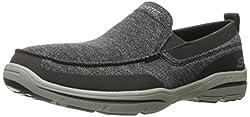 Skechers USA Mens Harper Moven Slip-on Loafer, Black Gray, 8. 5 2W US