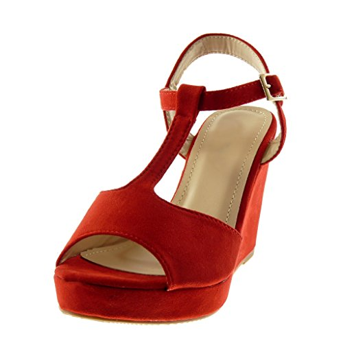 Angkorly Scarpe Moda Sandali Mules Cinturino Peep-Toe Zeppe Donna Tanga Tacco Zeppa Piattaforma 10 cm Rosso